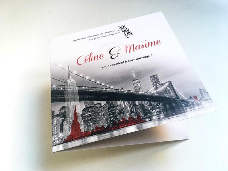 Invitation mariage theme pont de Brooklyn