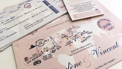 Faire part mariage rose billet avion