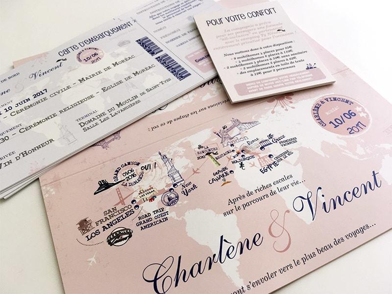 Faire part mariage rose billet avion