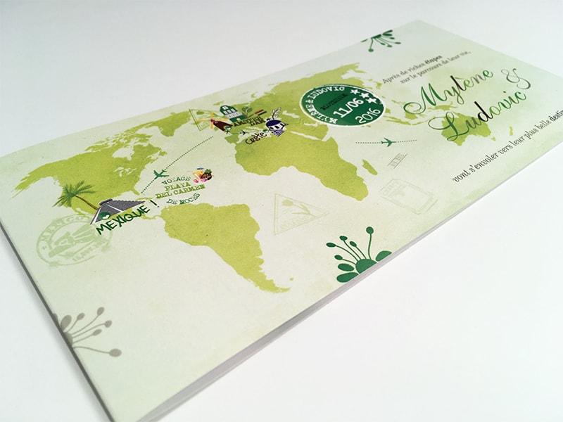 Faire-part globe-trotter voyage