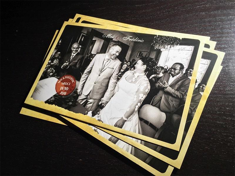Carte de remerciements mariage vintage