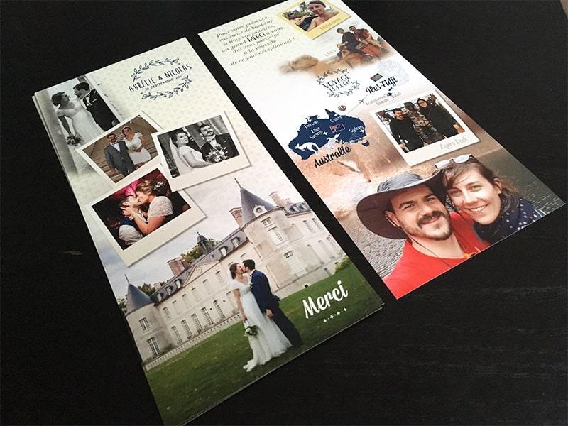 Carton de remerciements mariage avec photos