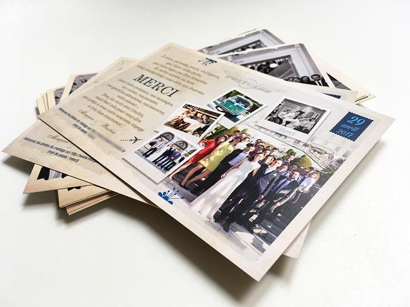 Carton de remerciements avec photos
