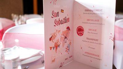 Décoration de salle mariage rouge et blanc menu