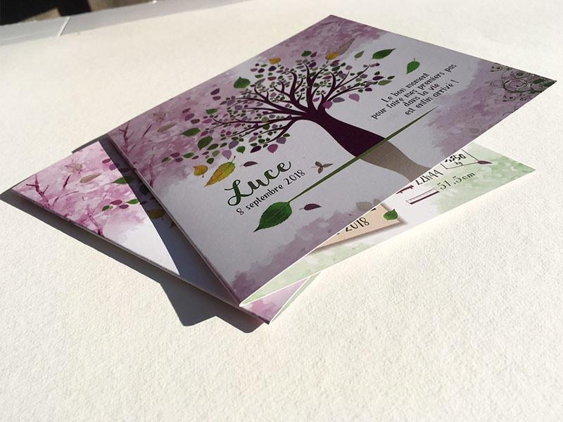 Faire part naissance arbre feuille saison