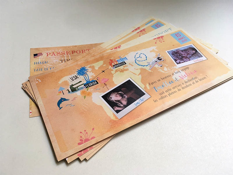 Faire part adoption passeport