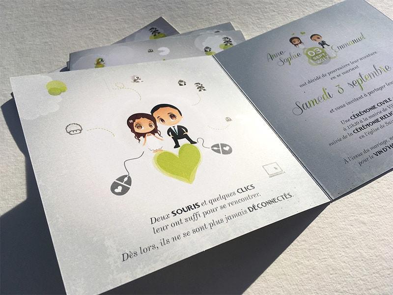Faire part mariage jeux video geekette