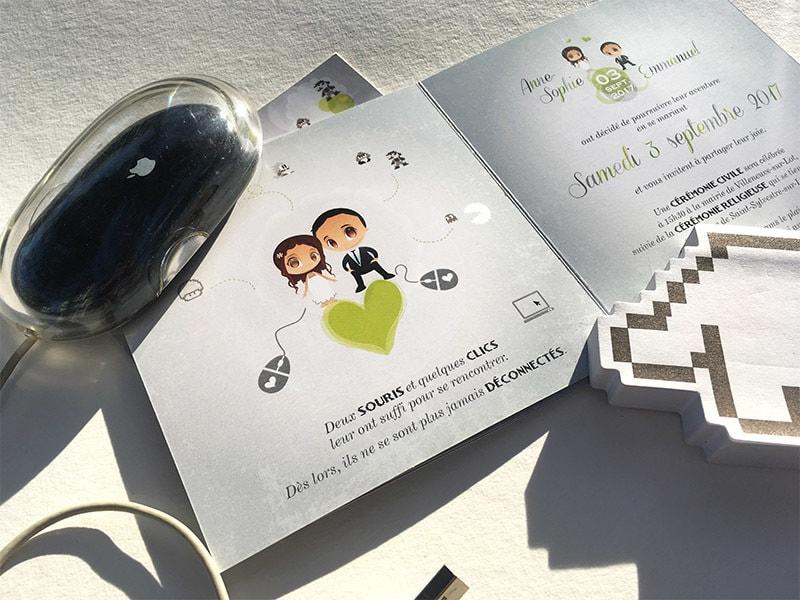 Faire part mariage geek