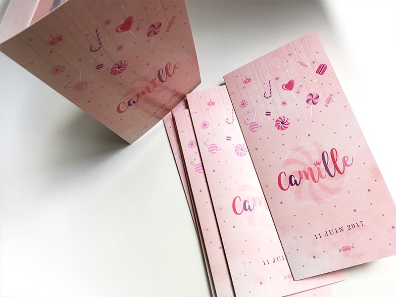 Faire part naissance gourmandise rose bonbon