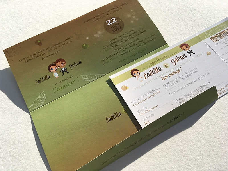 invitation mariage en forme de billet de train