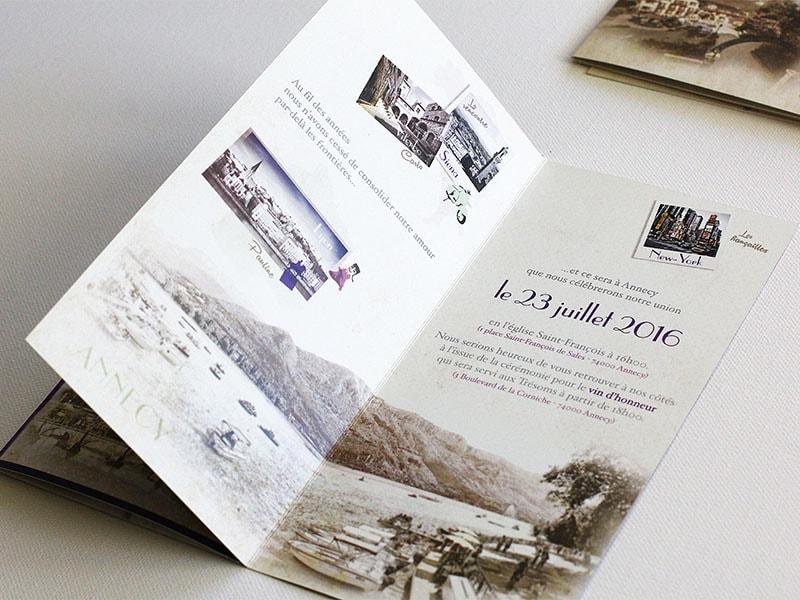 Faire part mariage Annecy bords du lac charme rétro