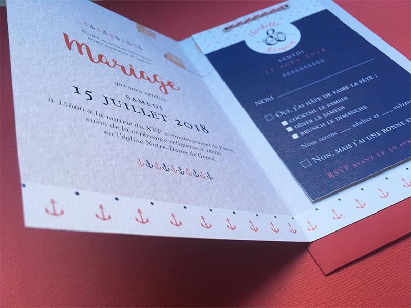 Faire part mariage avec carton réponse