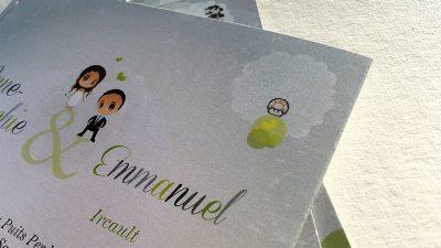 Invitation mariage geek super héros souris ordinateur