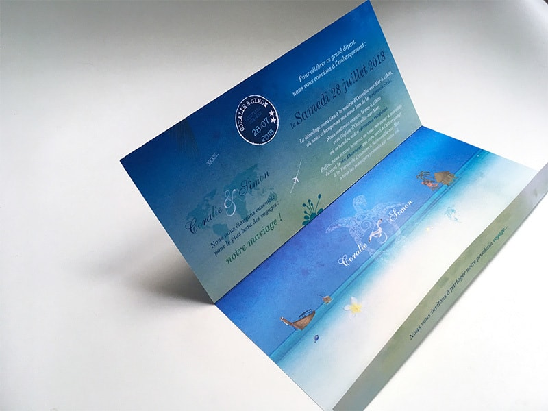 Faire part pochette et carte d'embarquement