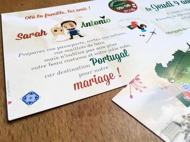 Faire-part mariage portugais