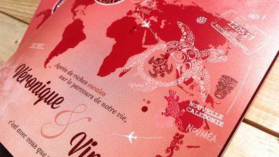 faire-part rouge passion nouvelle-caledonie