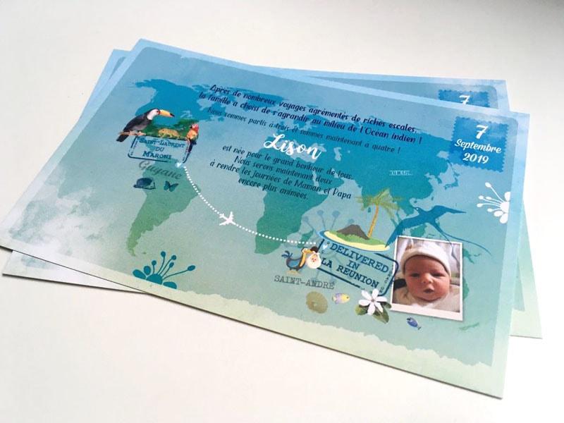 Faire part naissance bébé né ile de la Réunion
