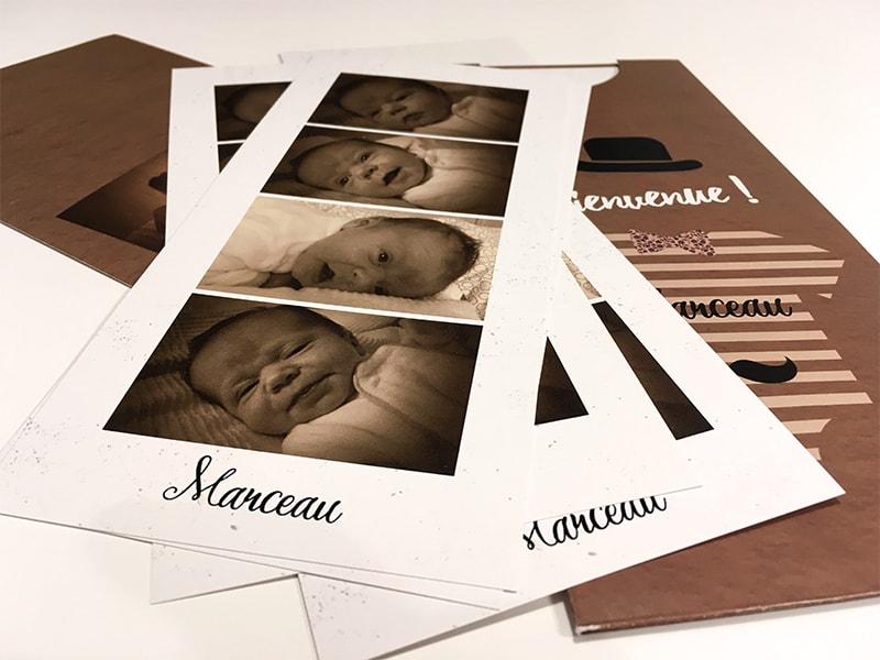 Faire part naissance écrin photos