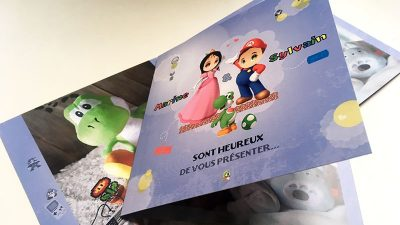 Faire part naissance gaming super Mario