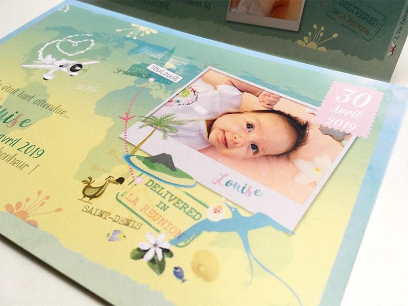 Faire part naissance carte postale Réunion mer