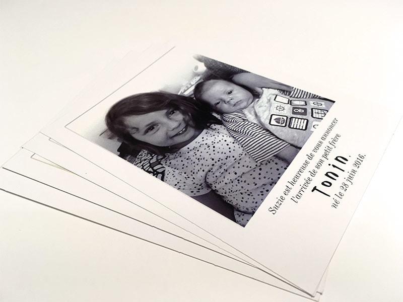 Faire part naissance photo polaroid