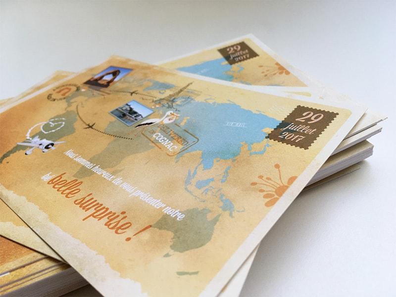Faire part naissance voyage mappemonde