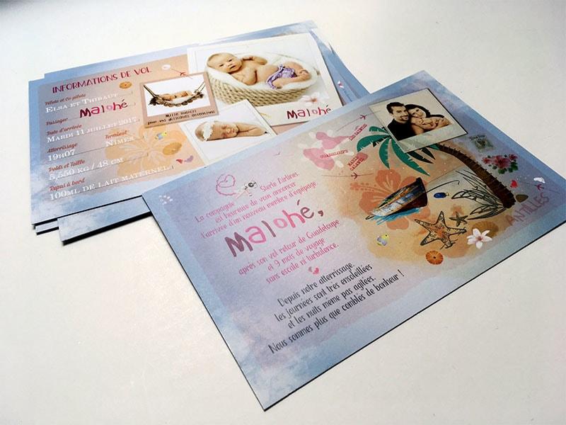 Faire part naissance voyage carte postale photos
