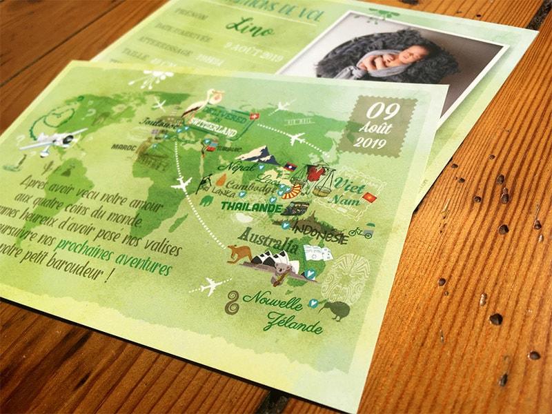 Faire part naissance carte postale thème voyage