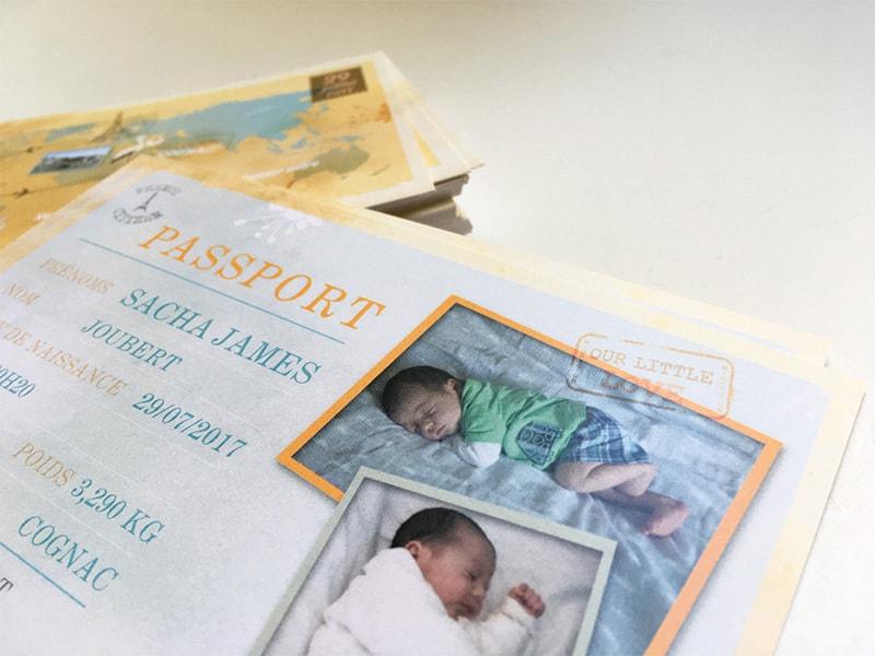 Faire part naissance bébé voyageur