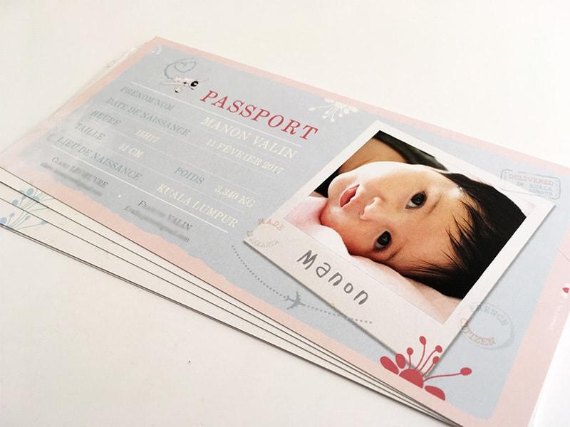 Faire part naissance passeport bébé