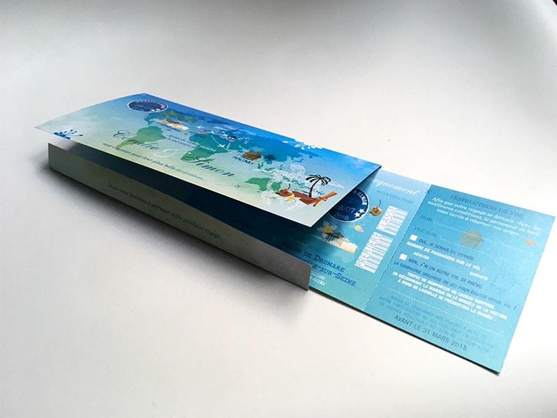 faire-part Polynésie pochette et billet avion