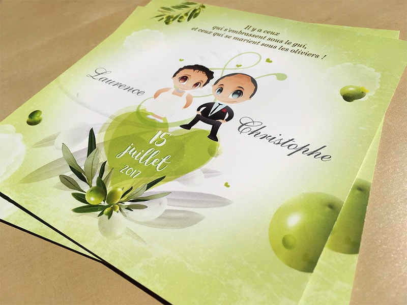 Faire part mariage sous les oliviers