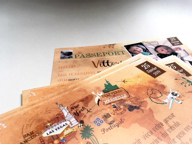 Faire part naissance voyage type passeport