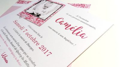 Invitation bapteme liberty chic