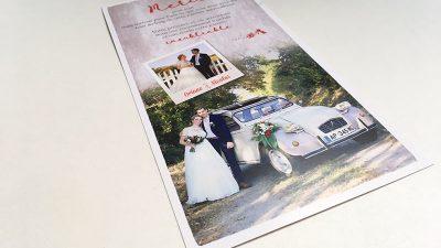 Remerciements mariage carte souvenir