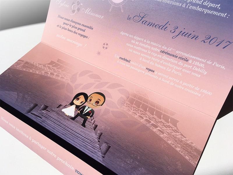 Invitation mariage sur l'eau croisière