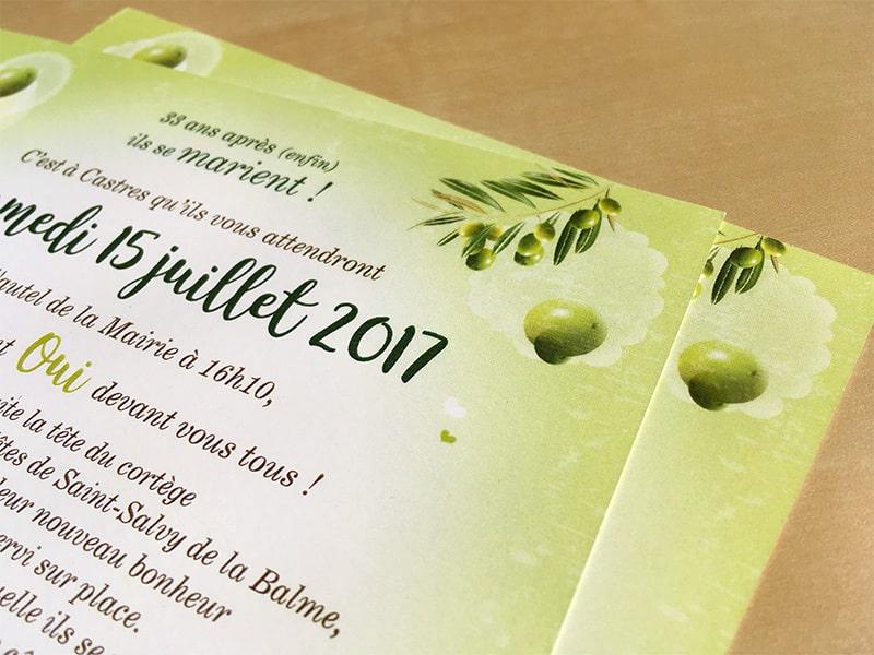 Faire part mariage thème sous les oliviers