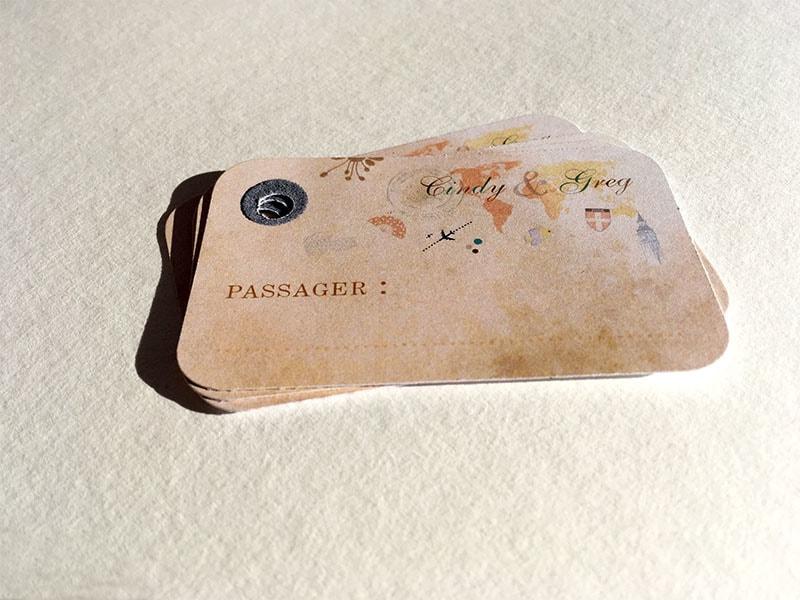 Déco mariage étiquette bagages