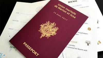Menu passeport union maritale