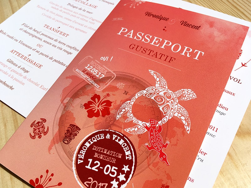 Menu passeport gustatif rouge