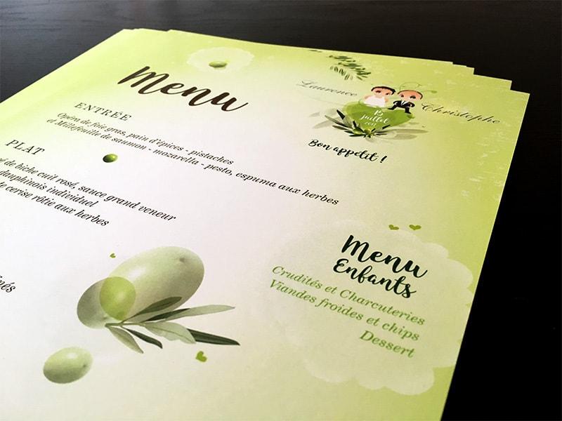 Menu mariage thème nature oliviers
