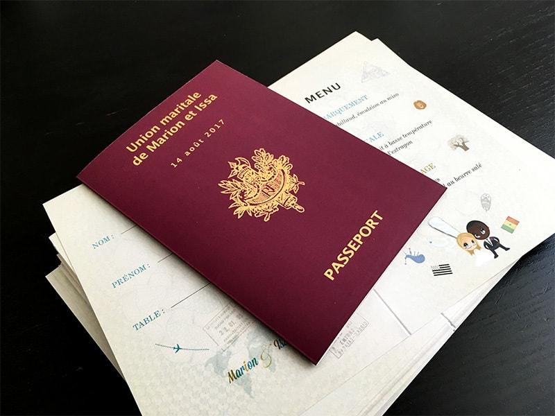 Menu passeport tampons de voyage visa