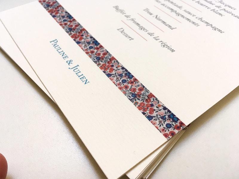 Idée menu mariage thème liberty