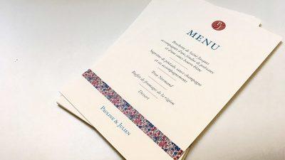 papeterie mariage menu liberty