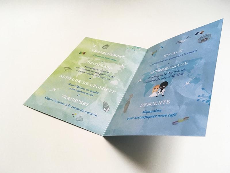 Idée texte menu thème voyage embarquement
