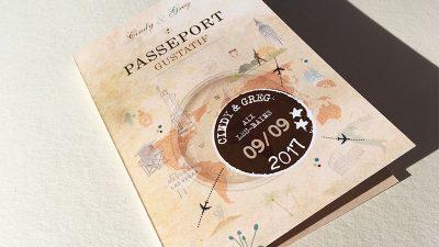 Menu passeport gustatif décoration mariage