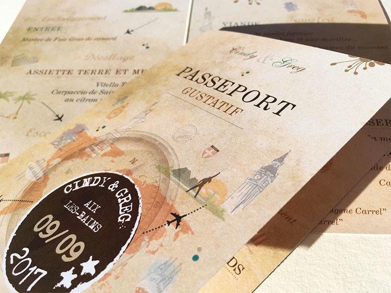 Menu mariage thème passeport voyage