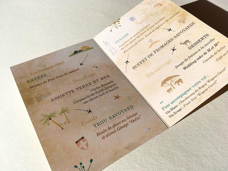Menu mariage forme petit passeport deux volets