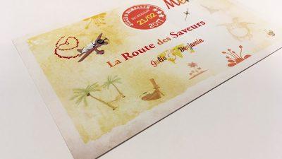 Papeterie de mariage menu voyage Seychelles