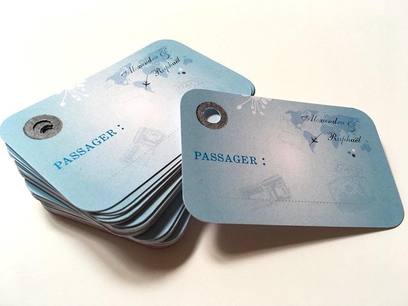 Marque-place mariage étiquette bagage perforée